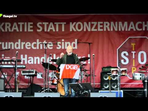 TTIP, CETA, TiSA stoppen! DGB-Kundgebung: Cuno Hägele, Ver.di, Stuttgart, 11.10.2014