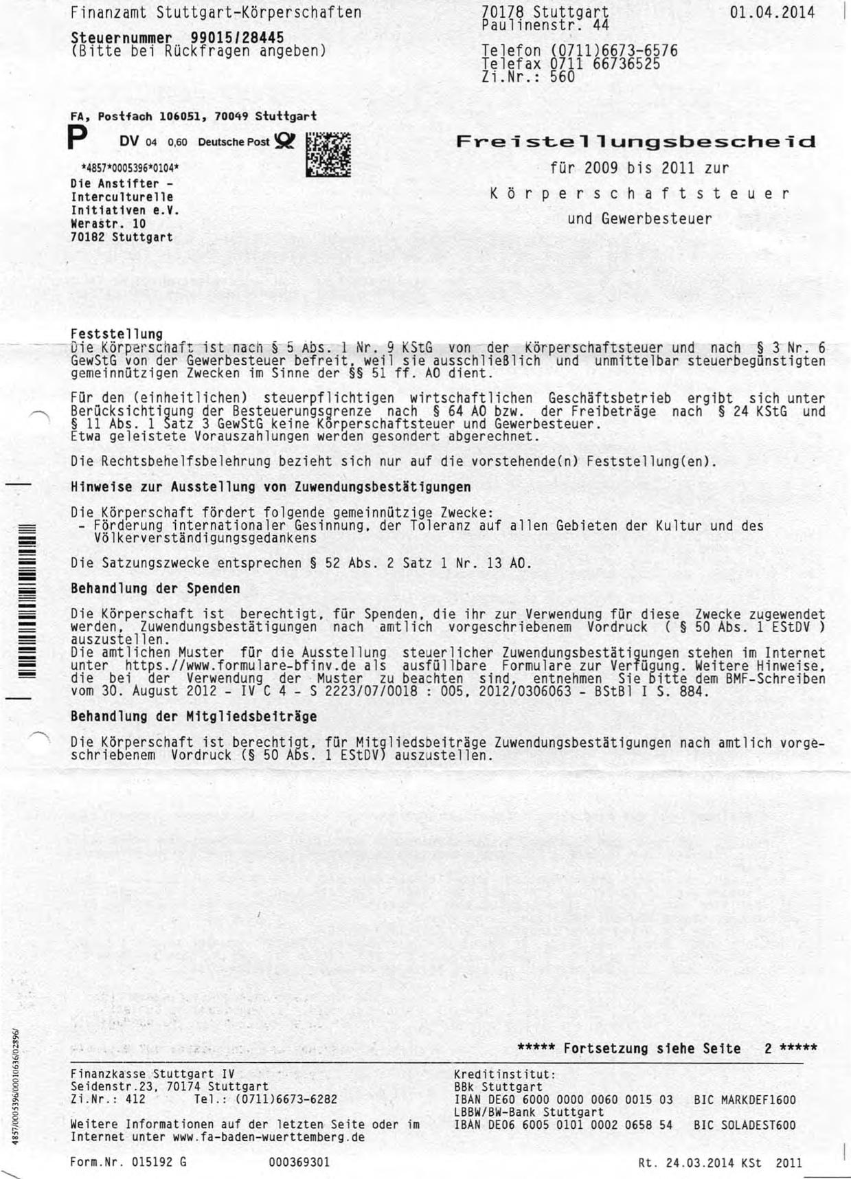2014-04-01 Freistellungsbescheid Die AnStifter klein
